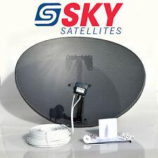 Sky 80cm Zone 2 Freesat Satellite Dish & MK4 Quad LNB + 20m White Twin Cable Kit