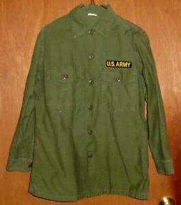 Vietnam War Man's Shirt Cotton Sateen OG-107 Olive Green US Army Size 15.5 x 31