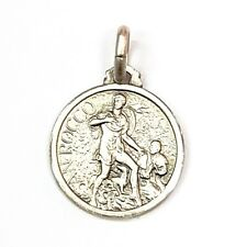 16MM Sterling Silver 925 St Roch Patron Saint of Dogs Medal Pendant Charm-ITALY