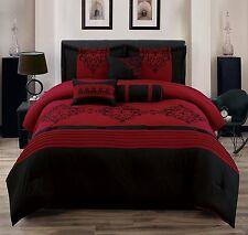 Luxurious 7 Piece Red & Black Scroll Motif Oversized Flocking Comforter Set New.