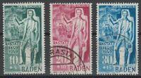BADEN FRENCH OCCUPATION Mi. #50-52 used stamp set! CV $132.50