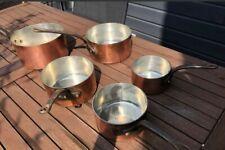 NICE SET/5 Mauviel Vintage Copper Saucepan 3MM