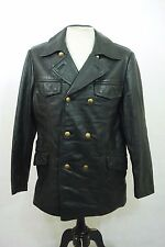 Vintage Striwa German Black Double Breasted Police Polizei Leather Jacket 38""