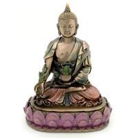 """Medicina Estatua de Buda 6"""" Budista Bienestar Icon Bronce Resina Alta"""