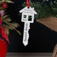 Personalised New Home Key Christmas Tree Decoration Bauble Gift