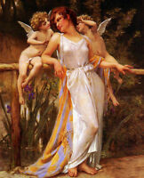 Dream-art Oil painting Guillaume Seignac - Nymph with angels Cupids in landscape