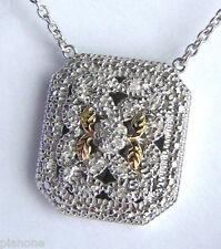 Inspiración Vintage 14k & .925 Plata Collar de Diamantes