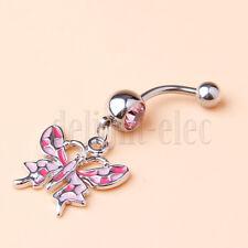 Butterfly 14g Belly Navel Ring Enameled Dangle Pink Rose Color 45mm DE