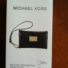 Michael Kors iPhone 4/ 4S Wallet Wristlet Case In Black Python Leather
