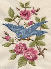 Bird in Blooming BranCH SET OF 2 BATH HAND TOWELS EMBROIDERED by laura