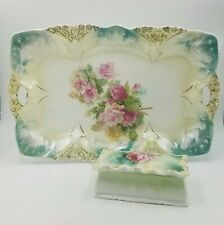 RS Prussia Vanity Dresser Set Tray & Trinket Pin Box Roses Decoration Mold 82