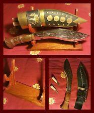 Coltello Kukri con Chakmak, Karda e guaina - Old Nepali Kukri knife w/support