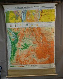 1957 Denoyer Geppert Map Pull Down Pacific Northwest Washington State