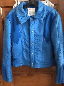 Vintage 70's  80s SKYR Blue Nylon Puffer Ski Jacket Men's Medium EUC
