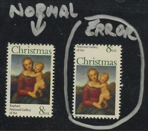 #1507 Error vs.Normal 6 cent Christmas stamp 1973 Mint Never Hinged - Perfect!