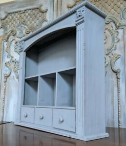 New VINTAGE Grey French Shabby Chic Bookcase Shelf Cabinet Drawers Unit Storage