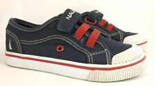 Nautica Canvas Toddler Slip On Shoes Size 11 Blue Red White Hook Loop Fasteners