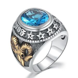 Mens Womens 925 Sterling Silver Blue Zircon Signet Ring Goat Head Punk Goth Gift