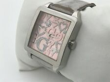 Guess Women Watch Crystal Accents Pink Face Genuine Leather Band Analog Japan Mo