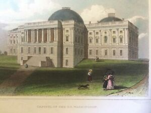 1831 Print of Capitol of the U.S. - Antique Washington D.C. Fenner Sears & Co