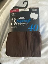 M&S 3 Pack 40 Denier Supersoft Opaque Tights Size L Large 3 pairs