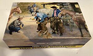 """Vintage Tuco Puzzle Miniatures """"The Critics"""" Triple-Thick 5-1/4""""x7""""  Cowboys"""