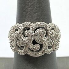 Elegant Sterling Silver 925 CZ Pave Swirl Loop Bail Overlap Halo Cocktail Ring