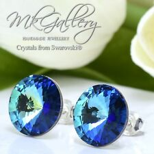 925 Sterling Silver Earrings Studs 12mm Bermuda Blue  Crystals from Swarovski®