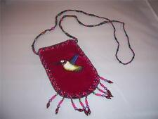 Small Deep Pink Velvet Pouch purse with Beaded Bird and Glass Bead Strap