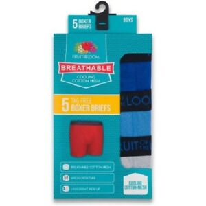 """Fruit of the Loom BOYS' BOXER BRIEF 5-Pack  """" Breathable Cotton Mesh & Cooling """""""