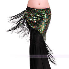 Belly Dance Costume Peacock Sequins Hip Scarf Belt Tribal Triangle Shawl 4 color