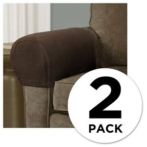 Mainstays Pixel 2-Piece Stretch Armrest Slipcover, Brown - Free US Ship