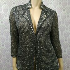 Alberto Makali Thin Knit Jacket Cardigan Womens Size L Studded Embellished Gray