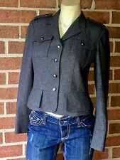 MICHAEL by Michael Kors Felted Wool Military Blazer Jacket Gray 6P