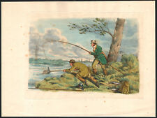 1817 Rare gravure eau-forte Henri Thomas Alken Deux pêcheurs pêche épuisette