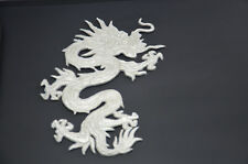 SILVER CHINESE DRAGON LARGE 20cm 8' EMBROIDERED SEW IRON ON PATCH APPLIQUE SSLG