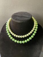 VTG. Japan signed two tone green faux pearl two strand necklace with hook clasp