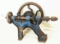 Vtg antique Champion & blower forge wall post mount drill press hand crank iron