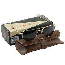 AO American Optical Military Aviator Gold Frames 52 Mm Sunglasses Gray Lens