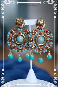 """LAWRENCE VRBA Stunning OOAK Egyptian Revival Earrings 4.0"""""""