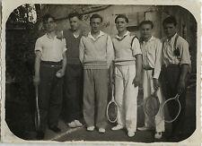 PHOTO ANCIENNE - VINTAGE SNAPSHOT -SPORT TENNIS GROUPE ÉQUIPE MODE ÉLÉGANCE 1931