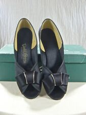 Daniel Green vintage 50s Slippers black satin Wedge gold trim bow New in Box 5