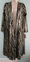 LuLaRoe Sarah Gold Silver Glitter Stripes Long Open Cardigan Duster NWT Medium
