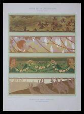 ANIMALS 1901 LITHOGRAPH - WALL FRIEZES PROJECT, FRENCH, ART NOUVEAU, DUVINAGE