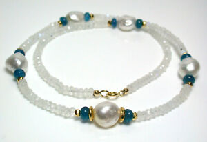 11mm silver-white South Sea pearl, apatite, moonstone & gold vermeil necklace