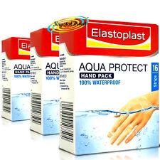 3x Elastoplast Aqua Protect Waterproof Hand Finger Cushion Wound Plasters 16