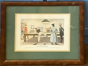 """Vintage Engraving by G. Hunt """"Billiards"""" 1827, etched by Williams"""