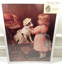 "Victorian Lithograph Print Picture ""Just Like Grandma"" Girl Child And Dog  12X16"
