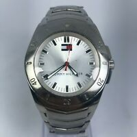Tommy Hilfiger Mens F90191 Silver Tone Stainless Steel Band Wrist Watch