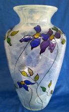 IVORYBLACK STUDIO 30cm ART GLASS VASE - BEAUTIFUL HANDPAINTED FLORAL DESIGN
